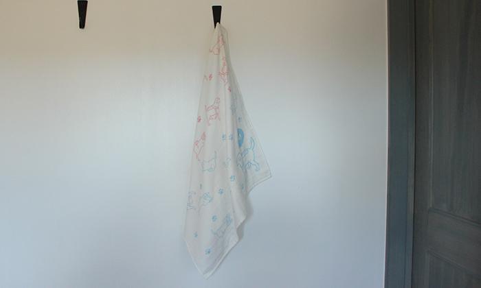 バスタオルをフックにかけた写真