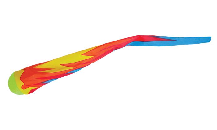 テニスボールに派手な色の袋型しっぽがついた商品写真