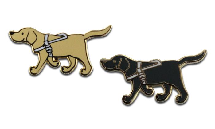 イエローラブとブラックラブのシンプルな盲導犬ピンバッジです