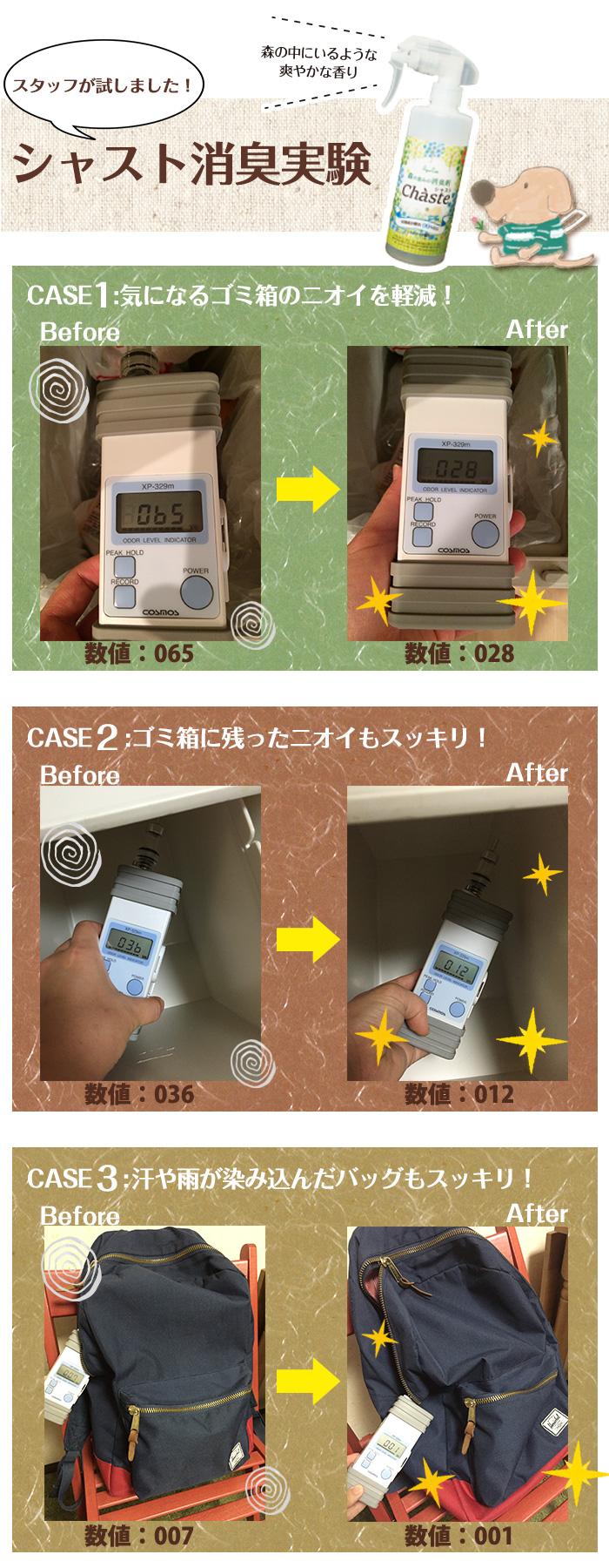 シャスト消臭実験の写真。ニオイの数値が減少している写真