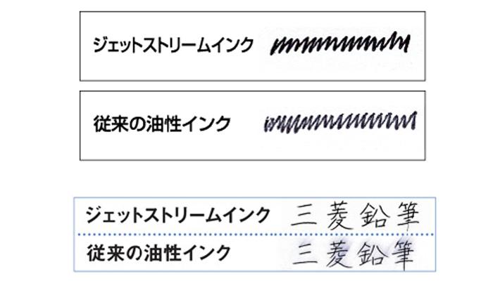 ジェットストリーム3色ボールペンで書いた文字と通常の油性インクで書いた文字の比較