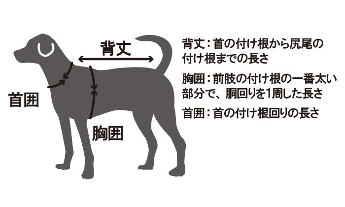 背丈:首の付け根から尻尾の付け根までの長さ 胸囲:前肢の付け根の一番太い部分で、胴回りを1周した長さ 首囲:首の付け根回りの長さ