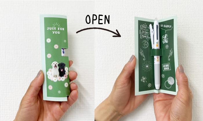 """カードを閉じた状態と開いてフリクションボールペンが収まっている写真"""""""