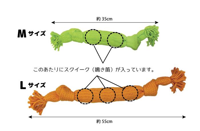 Mサイズはグリーンでスクイーカー2個、Lサイズはオレンジでスクイーカー3個入り