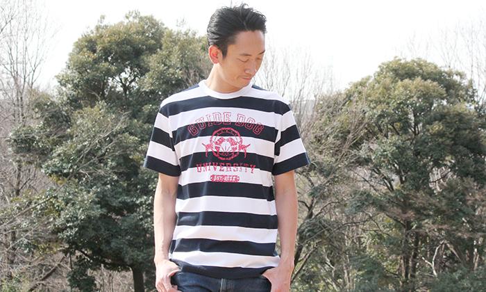 男性モデルのボーダーT着用写真
