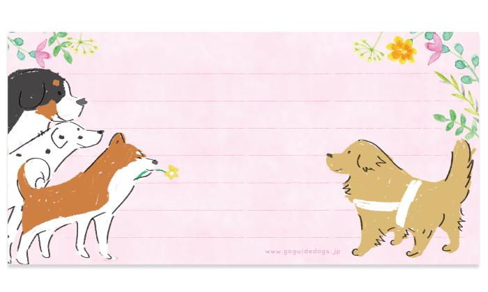 バーニーズ、ダルメシアン、秋田犬と盲導犬のイラスト