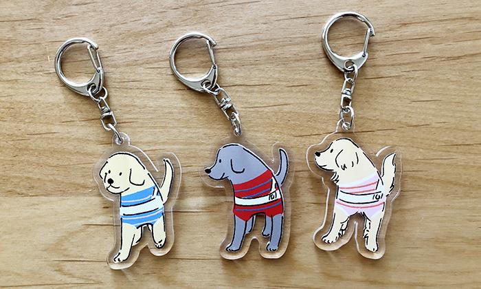 盲導犬3頭のアクリルキーホルダー写真