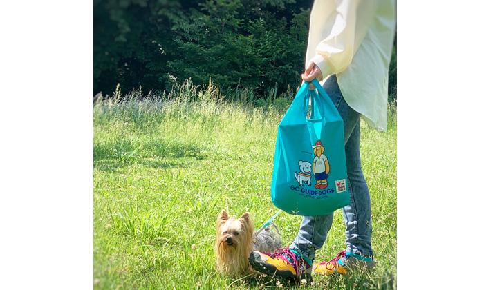 バッグを片手にわんちゃんとお散歩している写真。