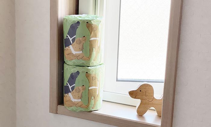 窓際に二個ストックしてあるトイレットペーパー