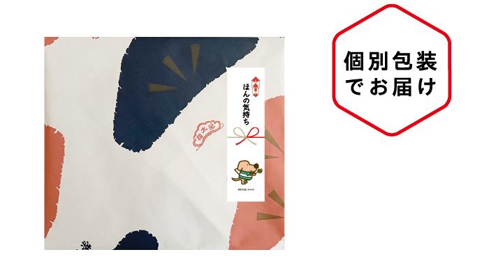 個別包装でお届け。ようかんの包装紙に。ほんの気持ちののしを付けた例。
