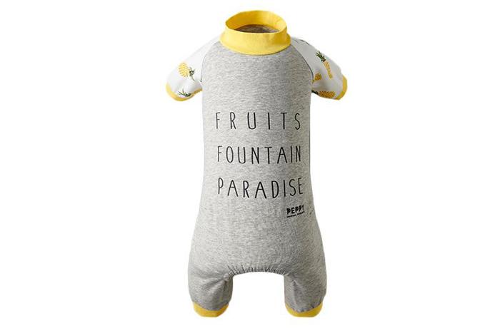 袖にはパイナップルの柄。身ごろはライトグレーの生地で背中に英語がプリントされています