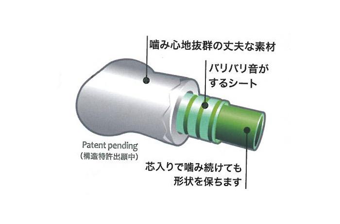 噛み心地抜群の丈夫な素材の中にバリバリと音のするシートが入っていて、さらに芯入りなので噛み続けても形状を保ちます